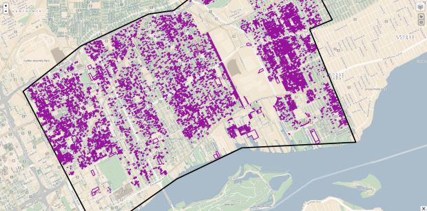 A selection (not all!) of publicly owned land on the lower east side of Detroit.